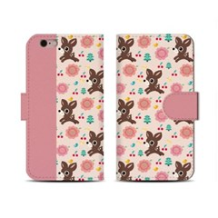 4Pocket Diary cover/ Little deer pink pattern