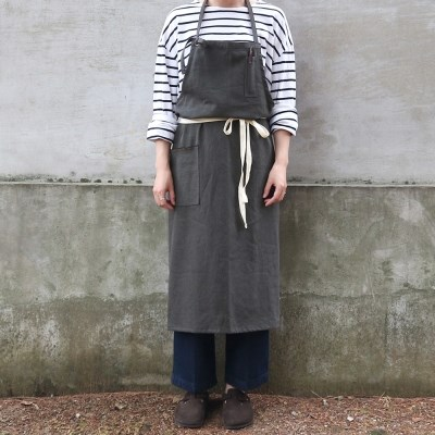 french linen apron_chacoal gray