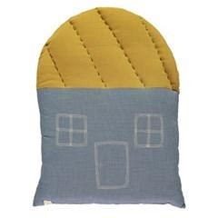 House cushion - mini check blue & ochre (42.5x56cm)