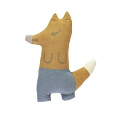 Foxy cushion - orchre & mini check blue (13x29cm)