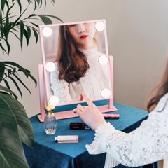 [라쏨] LED 조명 화장 거울 마이스위트데이 핑크