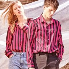 UTS-SS07 어닝 스트라이프 셔츠[pink(UNISEX)]