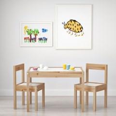 이케아 LATT 어린이테이블+의자2개세트/유아테이블/유아의자