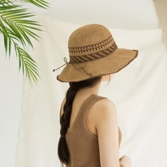 [3 colors]natural raffia hat