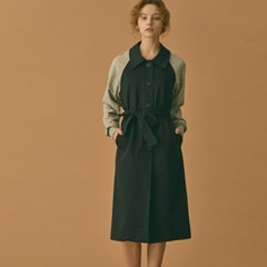 Jersey Sleeve Trench Coat (Navy)