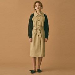 Jersey Sleeve Trench Coat (Beige)