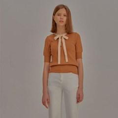 Short Sleeve Ribbon Knit_Brown_(798172)