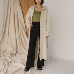 single button linen trench long coat