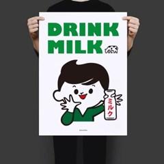 일본 유니크 인테리어 디자인 포스터 M 우유를 마시자! 일본소품