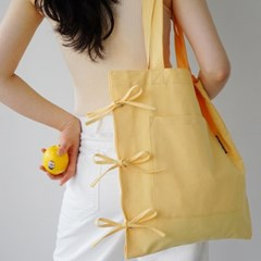 ribbon detailed cotton bag_yellow