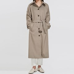 clever check trench coat_(917759)