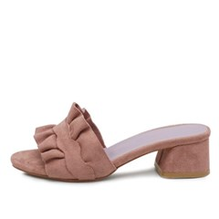 kami et muse Suede frille middle heel slippers_KM18s173