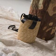 black ribbon cylinder rattan bag