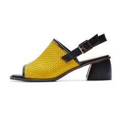 weaving sandal yellow-black_5cm (소가죽)