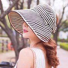 스트라이프 와이드 돌돌이 썬캡 모자