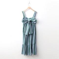 Linen Ribbon Sleeveless Long Dress