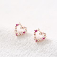 심플 핑크 하트 귀걸이