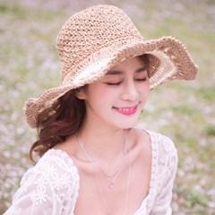 투톤 뜨개 밀짚 모자
