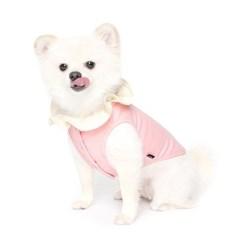 꽃잎카라 프릴넥 티셔츠 - 핑크