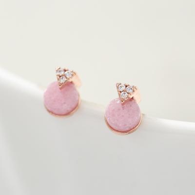 핑크 호마이카 서클 귀걸이