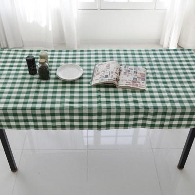 그린 체크 코튼 테이블 커버