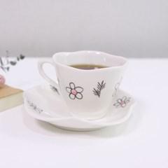 핑크 플라워 커피잔 세트
