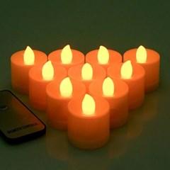 리모컨 + LED 티라이트 10개 세트 (촛불색)_(301528531)