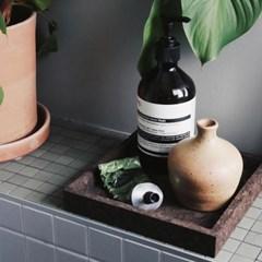 [LOW KEY] Black cork tray square (코르크 트레이 정사각)