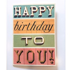 카발리니 카드-Happy birthday typography