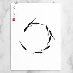 행운의 나인피쉬 - 수묵화스타일