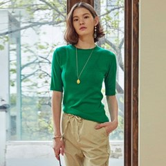 HALF NECK SUMMER KNIT T-SHIRTS_GREEN