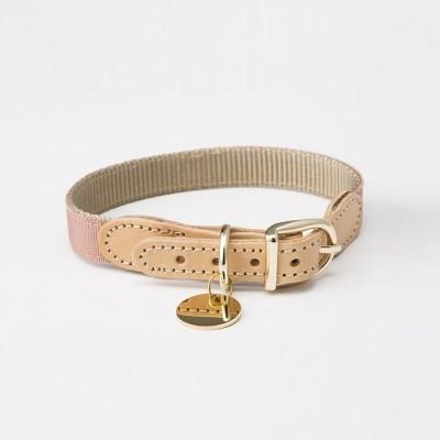 [반달펫]반려동물 인식표 이름표 가죽목걸이(핑크)