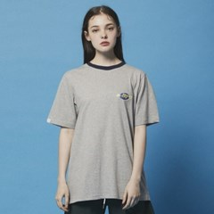 Color neck Space logo TEE_DT206 Gray