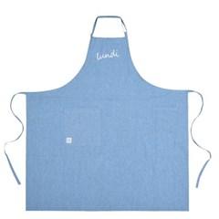 Lundi_pure cotton long apron_Sky blue