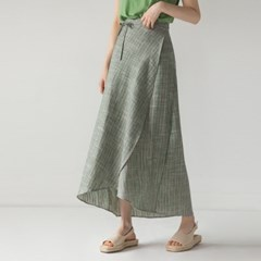 round cutting stripe wrap skirt