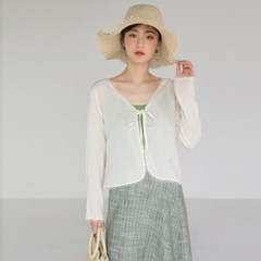 strap closing pure lace cardigan