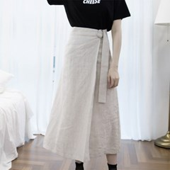 LINEN RING LAP SKIRT (set up) - OATMEAL