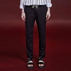 LINEN BENDING STRAIGHT PANTS_BLACK