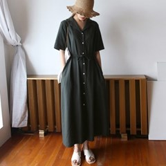 Daily collar linen long dress
