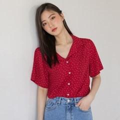 open collar dot pattern blouse