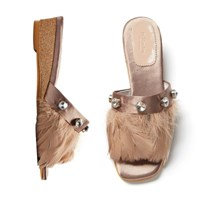 Feather Mule beige_3cm (새틴+깃털)