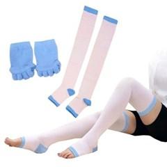 수련 다이어트양말 싸이하이 슬리밍 뷰티레그 투인원 SR219(블루)