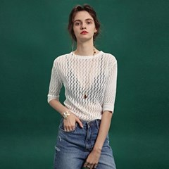 PUNCHING SEE-THROUGH KNIT_WHITE