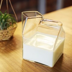 밀크글라스 우유팩 유리컵