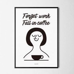 유니크 인테리어 디자인 포스터 M 일은 잊고 커피에 퐁당! 카페