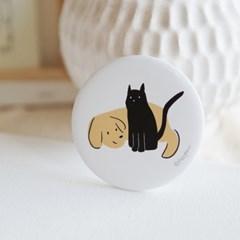 개와 고양이 원형 손거울