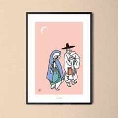 유니크 인테리어 디자인 포스터 M 월하정인 한국민화