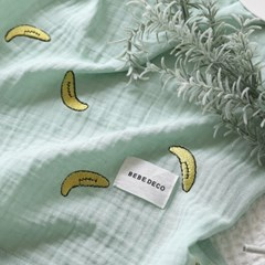 바나나 2중거즈 자수 블랭킷 겸 낮잠이불