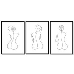 패브릭 포스터 드로잉 그림액자 뒷모습 3개 세트