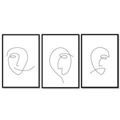 패브릭 포스터 드로잉 그림액자 얼굴 3개 세트